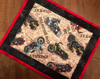Quilted Mug rug, motorcycle theme snack mat, trivet, mini-placemat, coaster, Father's Day, Quiltsy handmade, Item #321