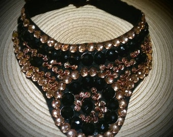 After Life Accessories: Handmade Beaded Bib Gold bronze Black. The Vixen Necklace