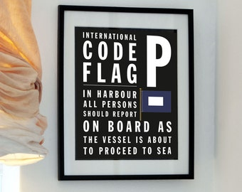 Letter P -Bus Roll International Code Flag meaning - Report on board as the vessel is about to proceed to sea