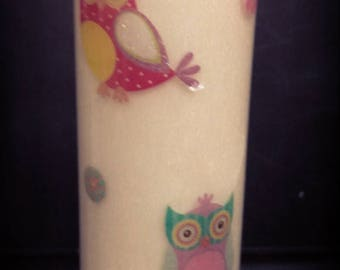 Scent Jar Candle Fresh Vanilla with Owl Decoration