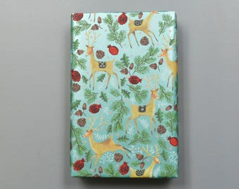 Reindeer and Pine Branches Christmas Wrapping Paper, 2 Feet x 10 Feet