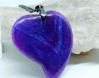 Purple Dragon Veins Agate Heart pendant