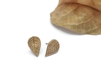 Bronze Small Leaf Studs, Leaf Earrings, Potato Leaves, Studs, Woodland Jewelry, Nature Inspired Jewelry, Botanical Jewelry
