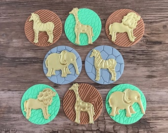 Safari Animals Fondant Cupcake Toppers