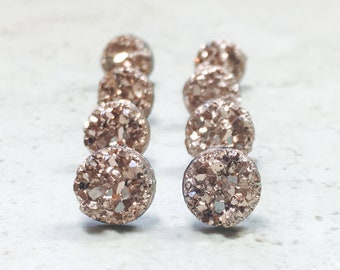 Set of 11 Rose Gold Bridesmaids Earrings, 11 Pairs Tiny Rose GOld Faux Druzy Earrings, Small 8mm Round Studs