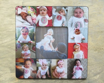 """Personalized Baby's First Year Frame, Baby Collage Picture Frame, Photo Frame, Unique Mother's Day Gift, Father's Day Gift, 8"""" x 8"""" Frame"""