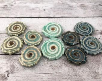 Ceramic Beads - One Pair - Spiral Design - Earring Sized Pairs - Ready to Ship - Marsha Neal Studio - Handmade Beads