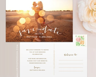 Romantic Photo Save the Date Postcard / Magnet / Flat Card - Save the Date Magnet, Photo Wedding Magnet, Rustic Save the Date