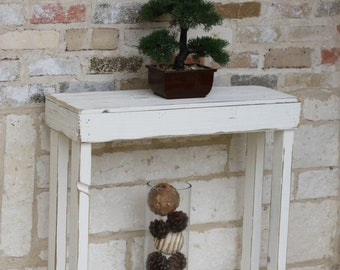 SALE Distressed White Slatted Entry Console