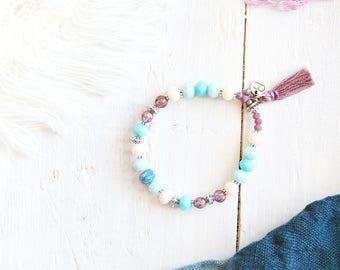 Jasmine bracelet, elastic wire, silver, purple, blue and white cream beads, pompon, Arabian Nights, for women