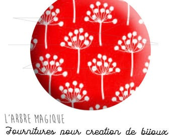 2 cabochons glue Japan flower white background red ref 1623 - 16 mm.