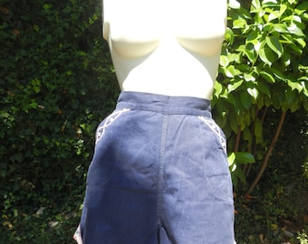 Vintage 1950 High Waist Embroidered Shorts