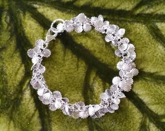 Anklet or Bracelet, Tiny Antiqued Silver Shells,  Have Pearls Added...
