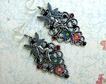 Fairy Earrings, Swarovski Earrings, Filigree Earrings, Flower Earrings, Lucite Flowers, Rhinestone Earrings, Dangle Earrings, Fairy Jewelry