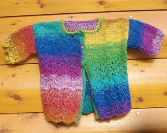 Acrylic Rainbow and Lace Short Sleeved Sweater for Little Girls