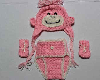 Whimsical Pink Monkey baby diaper cover set