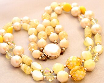 Vintage Yellow Art Glass Bead Necklace Multi Strand Vintage Art Glass Pearls Crystals Lampwork Japan