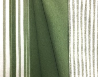 Green Variegated Stripe, Ticking and Solid  - Home Decor Cotton Fabric - 1/2 yard