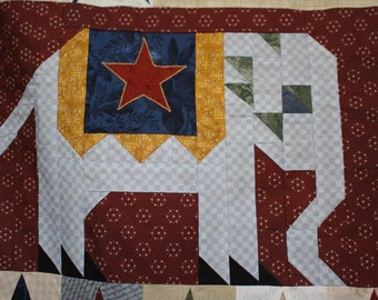 Reduced Price:  Quilt Top - Political VOTE Flag Democrats and Republicans