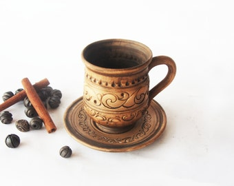 Cup with saucer Ceramics and pottery Stoneware coffee cup Handmade tea mug Mug with saucer Pottery cup Cup and saucer Unglazed cup