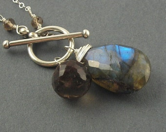 RESERVED - Rustic Beauty Necklace - Labradorite, Smoky Quartz and Sterling Silver