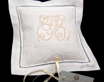 Ring Bearer Pillow, Ring Pillow, Monogram Wedding Ring Pillow, Monogram, Irish Linen, Ring Bearer, Wedding Ring Cushion, Style 7961