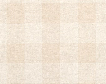 Linen Buffalo Check Fabric by the Yard Designer Beige and Tan Plaid Fabric Curtain Drapery Home Decor & Upholstery Fabric M124