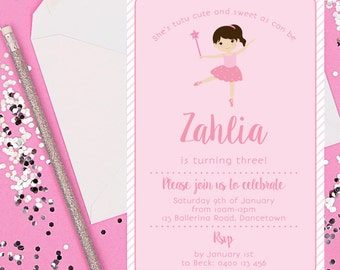 Pink & White Ballerina Digital Invitation