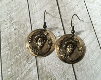 Brass cameo earrings round victorian vintage style disk earrings rustic distressed hand made