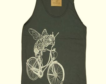 Mens Tank Top - American Apparel - Honey Bee on a Bike - Bee Tank Top - Tanks for Guys - Funny Mens Gifts - Boyfriend Gifts - Husband Gifts
