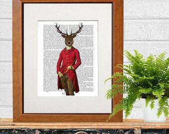 Deer Print - Deer in Fuchsia Jacket - Hot pink art print pink wall art stag decor stag wall art stag art print deer art print regency deer