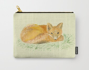 Fox Carry All Pouch, fox makeup bag, fox pencil pouch, fox carry all pouch, woodland pouch, woodland bag, small fox pouch, small fox bag