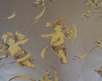 Vintage 1960s Wedding Gift Wrap Goldy Cherubs-1 Sheet Wrapping Paper Weddings