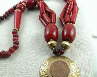 Red Resin and Brass Large Vintage  Beaded Necklace