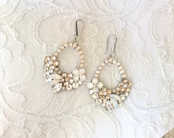 Ivory cream bridal earrings, nude bridal earrings, white opal earrings, floral bridal earrings, beachy bridal earrings