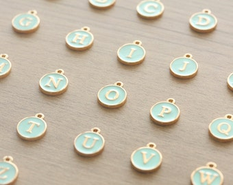 1 pcs of 18k Gold Plated Mint Enamel Initial Charm - 12 mm