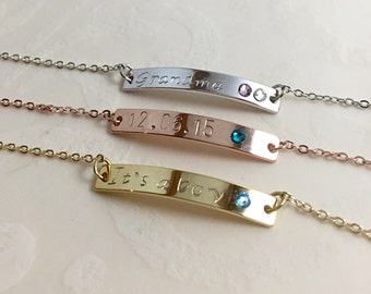 Mothers Day Gift Birthstone Bracelet Rose Gold Bracelet Personalized Bar Bracelet Initial Bracelet Gift for Her Name Date Best Friend Gift