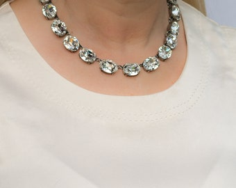 Crystal Anna Wintour Necklace, Diamond Clear Crystal Collet, Riviere, Swarovski Necklace, Reproduction Georgian Collet Necklace