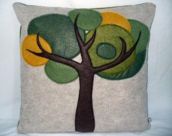 Tree Pillow, Wool Felt Pillow, Green Throw Pillow, Applique Pillow,  Decorative Pillow, Accent Pillow, Toss Pillow