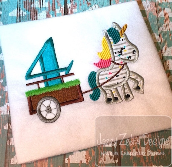 Unicorn with number 4 in cart appliqué embroidery design - Unicorn applique design - 4th birthday applique design - fourth birthday applique