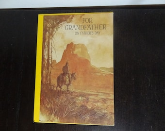 Vintage Buzza Greeting Card - Father's Day Card for Grandfather - Native American Design - New Old Stock - Never Used