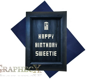Doctor Who TARDIS inspired personalized birthday card