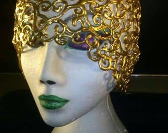 Cloche hat headpiece headdress vintage style 1950s showgirl hand drawn