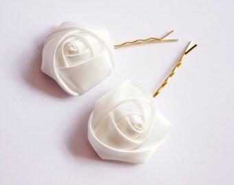 Ivory Satin, Cream Flower, Wedding Bobby Pin, Hair Accessories