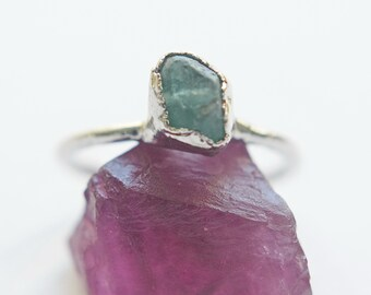Raw blue apatite electroformed ring