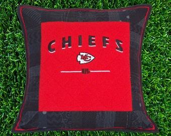 Kansas City Chiefs Quilted Pillow Sham   KC T Shirt Upcycled Pillow Cover   KC Chiefs Quilted Pillow Sham   KC Football Quilted Pillow Cover