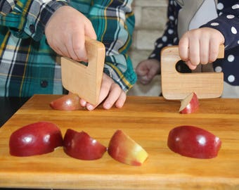 Safe knife for children, ''Chop Chop'' maple wood, vegetable and fruit cutter, wooden chopper, knife for kids, kitchen toy.