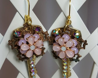 Re-purposed, upcycled assemblage vintage style light pink rhinestone earrings