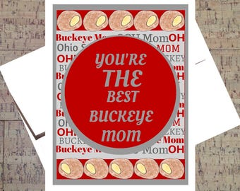 Funny Mom Card, Ohio State Card, Funny Mothers Day Card, Buckeye Card, Mom Card, Happy Mothers Day, OSU Card, Scarlet And Gray