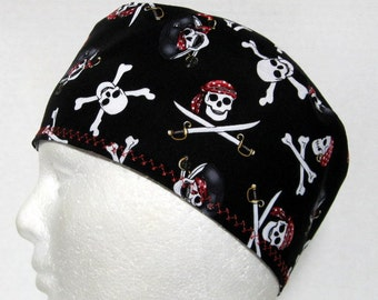 Mens Scrub Hat, Surgical Cap or Skull Cap Pirate Skulls and Cross Bones on Black